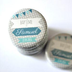 Badge magnet souvenir baptême bleu canard