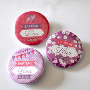 Badges souvenir bapteme fille liberty