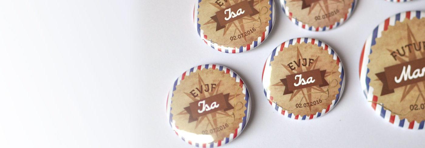 Badges souvenirs EVJF theme voyage