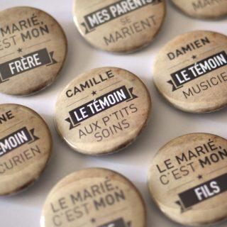 Badges personnalisés mariage humour