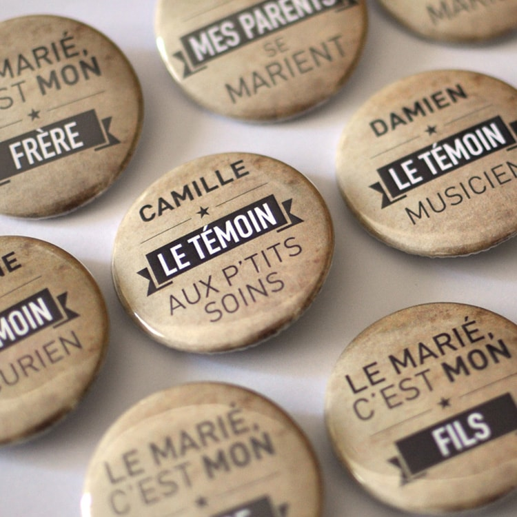 Badges nominatifs mariage humour