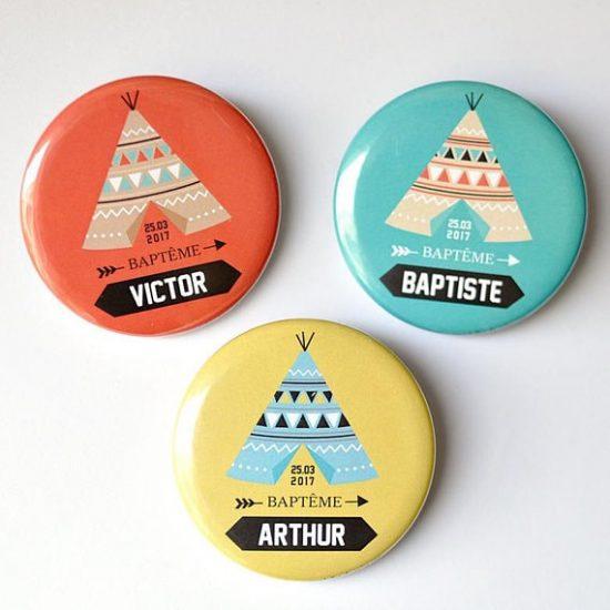 Magnets Baptême thème indien