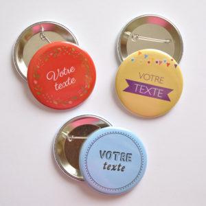 Badge pins personnalisé texte ou image