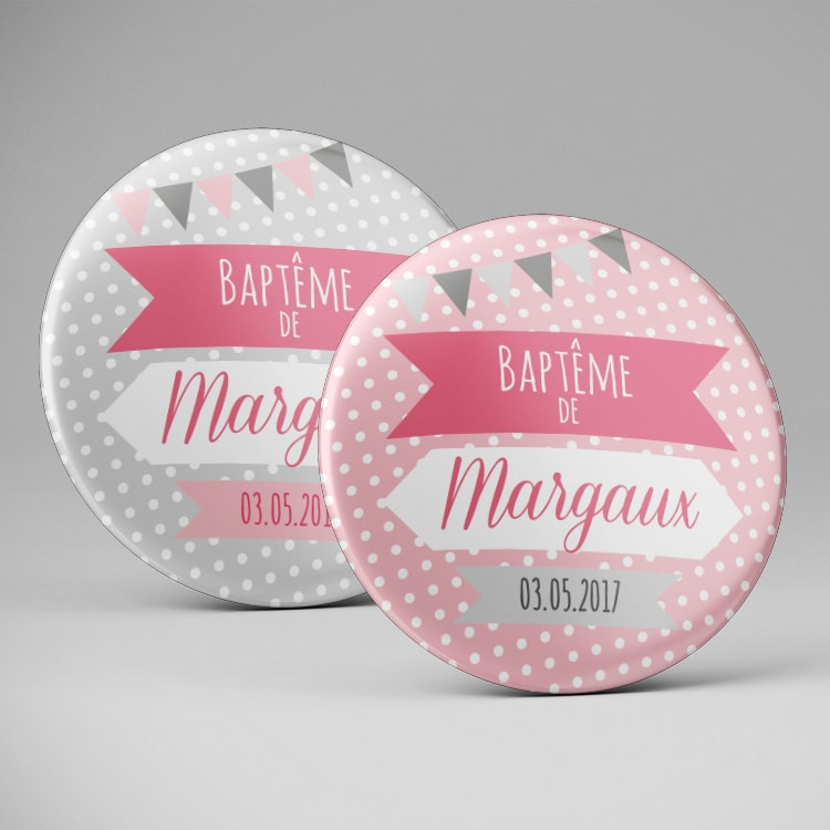 Magnets baptême rose gris