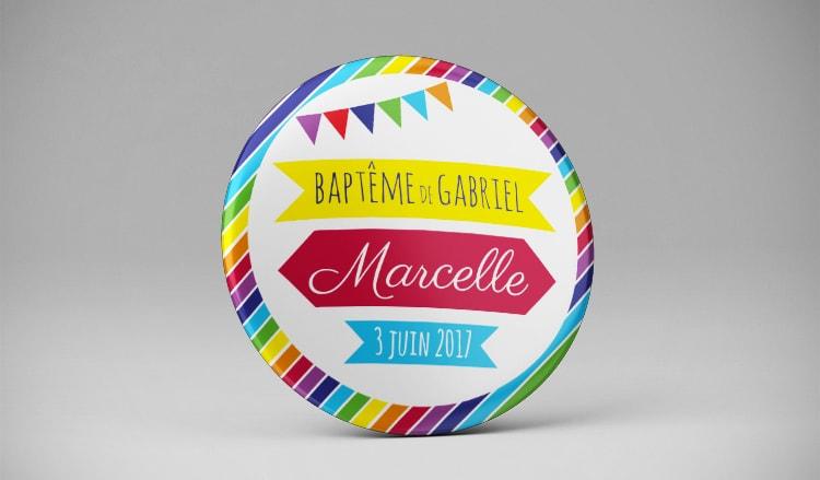 Magnet plan de table baptême couleurs