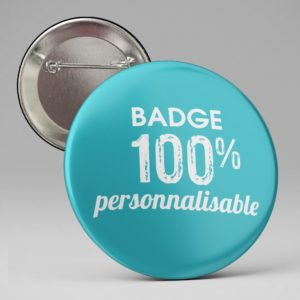 Badge pins personnalisable, texte et image