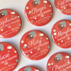 Badge ou magnet / Cadeau souvenir / Mariage