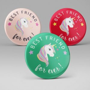 Badge ou magnet Best friend Licorne
