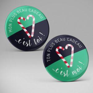 Badges rigolos pour Noël pas cher