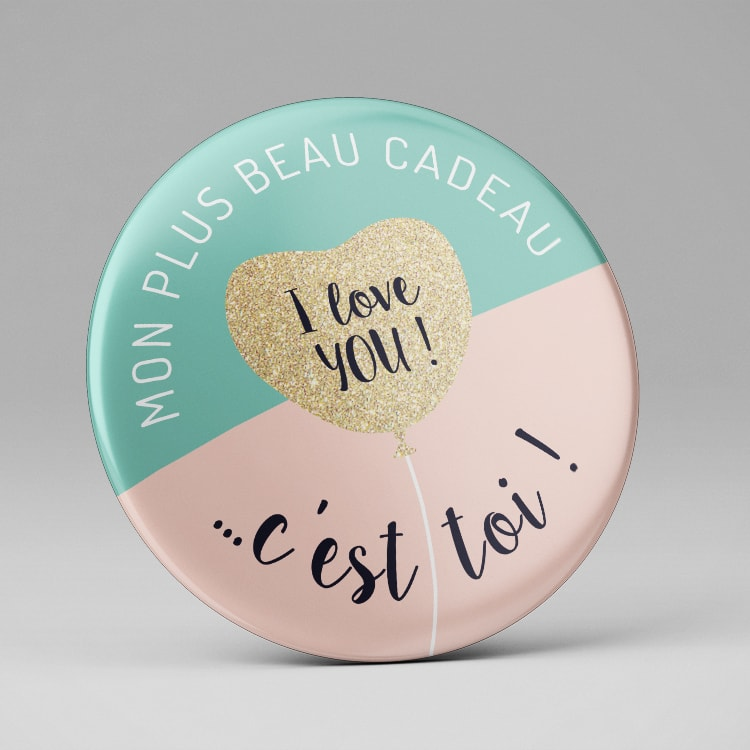 Badge miroir magnet I love You