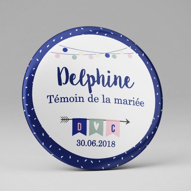 Mariage / Badge ou magnet / Marque place