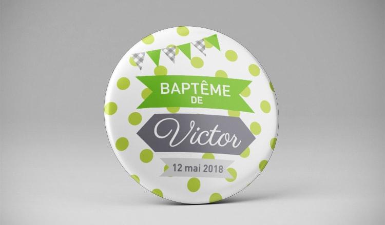 Magnet aimant souvenir baptême gris vert