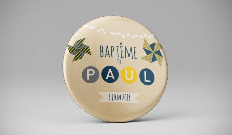 Aimant magnet souvenir baptême jaune bleu