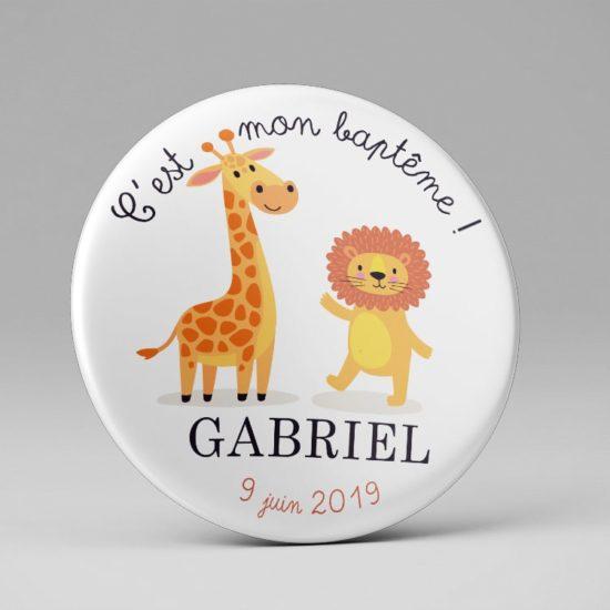 Magnet cadeau invités baptême Lion + girafe
