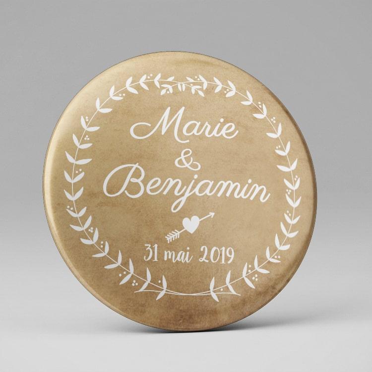 Badge remerciement personnalisé Mariage / Couronne de laurier