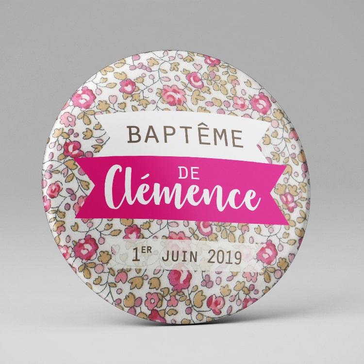 Magnet souvenir baptême / Rose girly