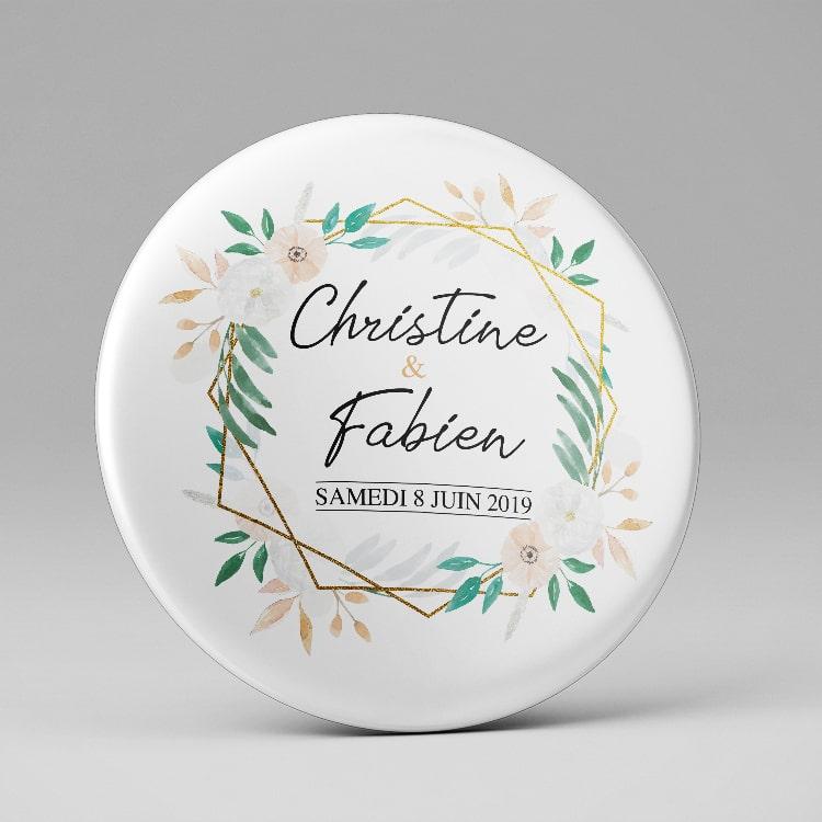 Badge remerciement personnalisé Mariage / Couronne de fleurs