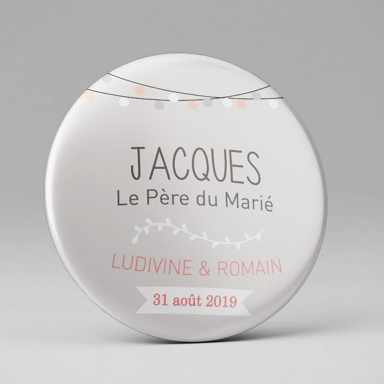 Badge prénom personnalisé Mariage / Chic gris rose