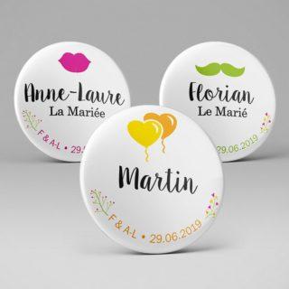 Badge nominatif personnalisé Mariage / Bouche Moustache Ballons