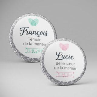 Badge nominatif personnalisé Mariage / Paillettes coeur