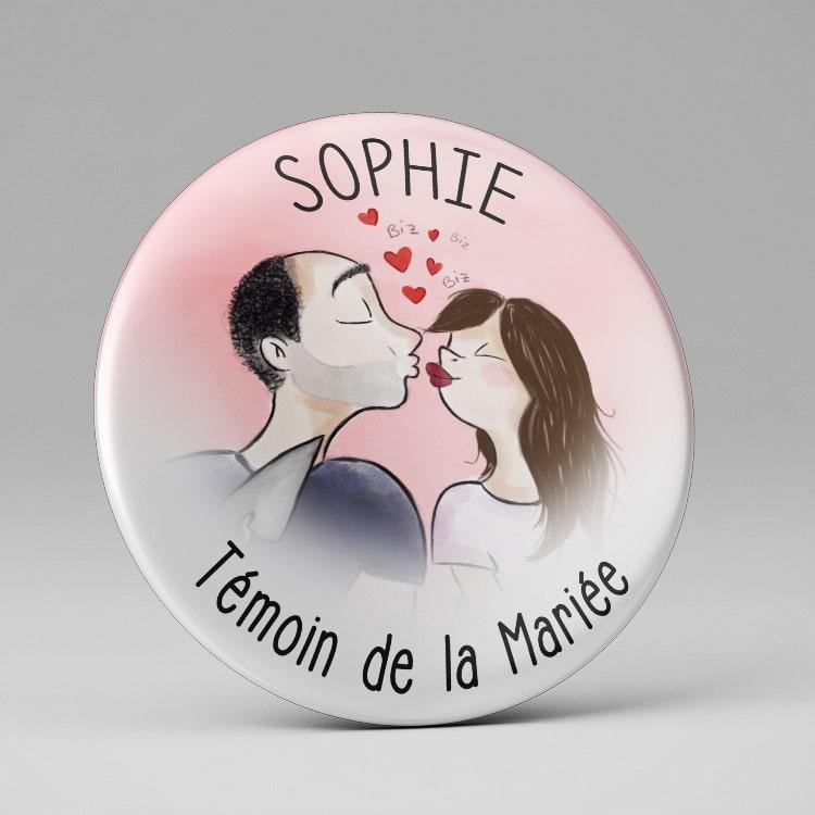 Badge personnalisé mariage / Marque place / Illustration mariés
