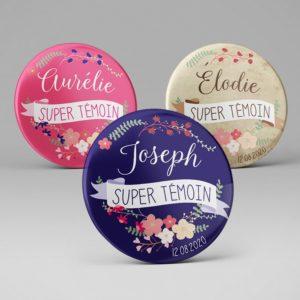 Mariage / Badge Super témoin + prénom / Couronne de fleurs