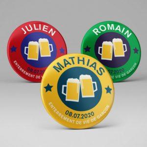 Badge souvenir enterrement vie de garçon / Bière