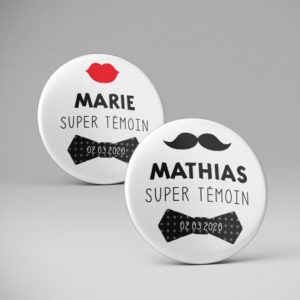Mariage / Pins Super témoin + prénom / Moustache + Bouche
