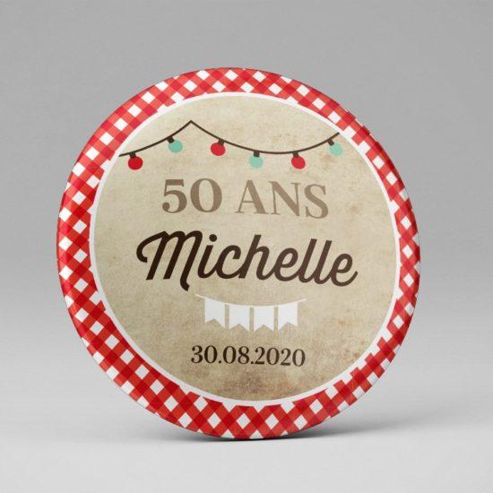 Anniversaire guinguette / Badge ou magnet souvenir / Cadeau invité