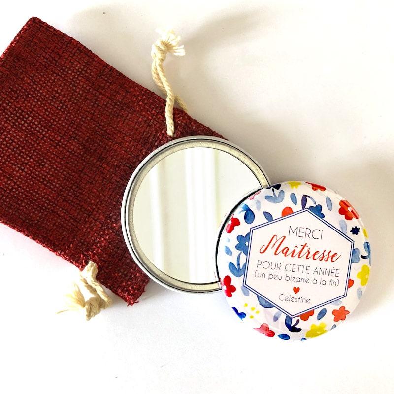 Cadeau original Maîtresse personnalisé / Miroir + pochette