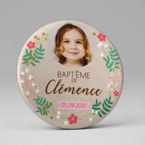 Baptême / Aimant / Cadeau souvenir invités / Photo de l'enfant