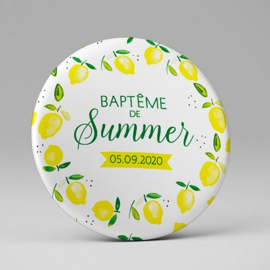 Baptême / Magnet / Cadeau souvenir invités / Thème estival citrons
