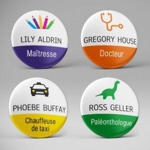 Badge prénom + métier personnalisé