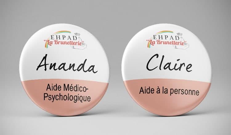 Badge prénom infirmière aide soignante / Hôpital