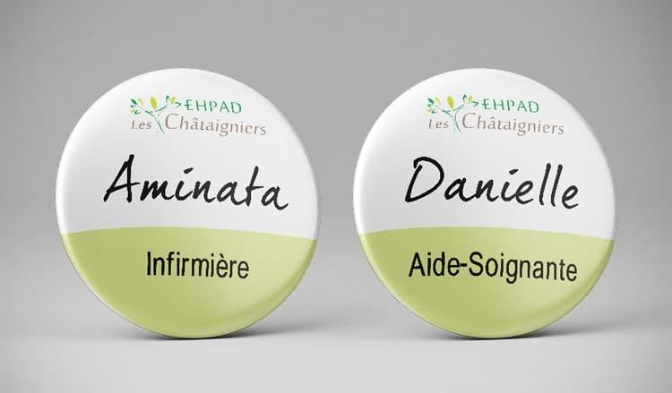 Badge prénom infirmière aide soignante / EHPAD